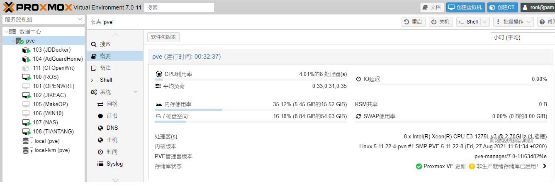 pve Proxmox VE 6.X 直接更新升级到 7.0-11